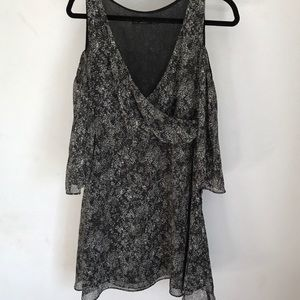 Zara Black and Gray Cold Shoulder Dress